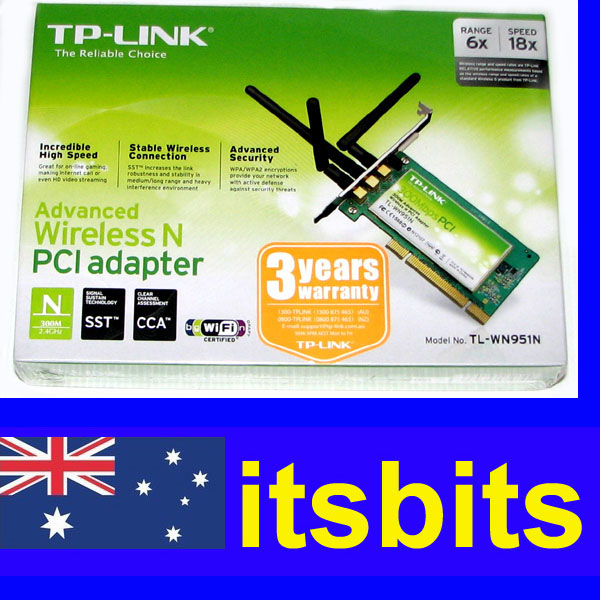 TP-LINK-TL-WN951N-WIRELESS-N-PCI-COMPUTER-NETWORK-CARD-300Mbps-3YR-WARRANTY