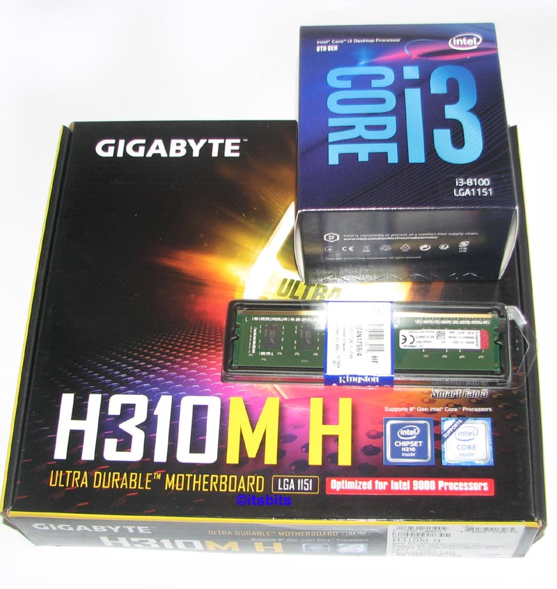 Details about GIGABYTE H310M-H + INTEL CORE i3-8100 3 6GHz 1151 CPU + 4GB  DDR4 RAM UPGRADE NEW